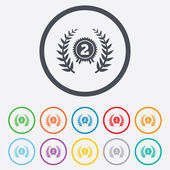 Second place award sign icon. Prize for winner. — Stock Vector