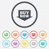 Buy now sign icon. Online buying arrow button. — Stock Vector