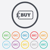 Buy sign icon. Online buying Pound button. — Stock Vector