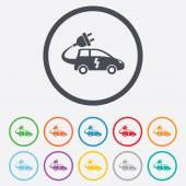 Electric car sign icon. Hatchback symbol. — Wektor stockowy