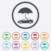 Ikona znak ubezpieczenia samochodu. symbol ochrony. — Wektor stockowy