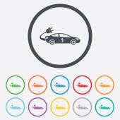 Electric car sign icon. Sedan saloon symbol. — Wektor stockowy