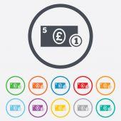 Cash sign icon. Pound Money symbol. Coin. — Stock Vector