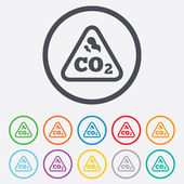 CO2 carbon dioxide formula sign icon. Chemistry — Vettoriale Stock