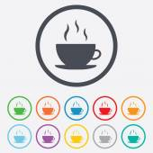 Coffee cup sign icon. Hot coffee button. — Stock Vector