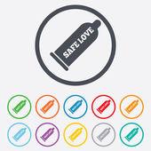 Condom safe sex sign icon. Barrier contraceptive — Stock Vector