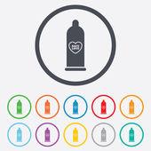 Kondom säker sex tecken ikon. barriär preventivmedel — Stockvektor