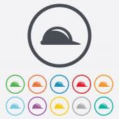 Hard hat sign icon. Construction helmet symbol. — Vettoriale Stock