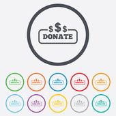 Donate sign icon. Dollar usd symbol. — Stock Vector