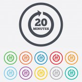 Every 20 minutes sign icon. Full rotation arrow. — Stock Vector
