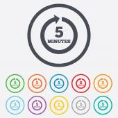 Every 5 minutes sign icon. Full rotation arrow. — Vettoriale Stock