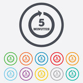 Every 5 minutes sign icon. Full rotation arrow. — Stock Vector