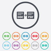 Export DOC to PDF icon. File document symbol. — ストックベクタ