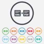 Export XML to PDF icon. File document symbol. — Vector de stock