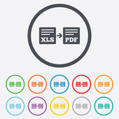 Export XLS to PDF icon. File document symbol. — ストックベクタ