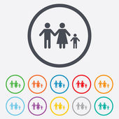 Complete family with one child sign icon. — Stock Vector