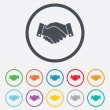 Handshake sign icon. Successful business symbol. — Stock Vector #55362867