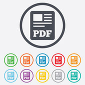 PDF file document icon. Download pdf button. — Stockvektor