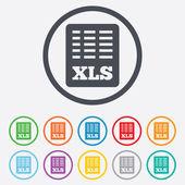 Excel dosyası belge simgesi. xls düğmesini indir. — Stok Vektör