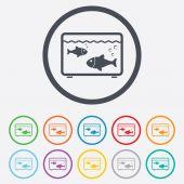 Aquarium sign icon. Fish in water symbol. — Stock Vector