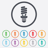 Fluorescent lamp bulb sign icon. Energy saving. — Vector de stock