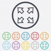 Icône de signe de plein écran. symbole de flèches. — Vecteur