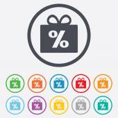 Gift box sign discount icon. Present symbol. — Stock Vector