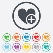 Heart sign icon. Add lover symbol. — Stock Vector