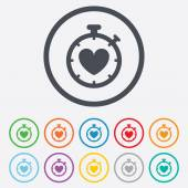 Heart Timer sign icon. Stopwatch symbol. — Wektor stockowy