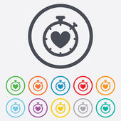 Heart Timer sign icon. Stopwatch symbol. — Vector de stock