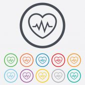 Heartbeat sign icon. Cardiogram symbol. — Vettoriale Stock