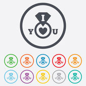 I Love you sign icon. Valentines day symbol. — Stock Vector