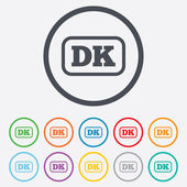 Denmark language sign icon. DK translation. — Vector de stock