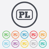 Polaco icono de signo de idioma. traducción de pl — Vector de stock