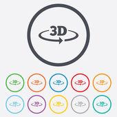 3d işareti simgesi. 3d yeni teknoloji sembolü. — Stok Vektör