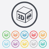 3D Print sign icon. 3d cube Printing symbol. — Stock Vector