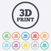 3D Print sign icon. 3d Printing symbol. — Stock Vector