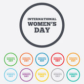 8 March International Womens Day sign icon. — Stock Vector