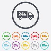 Serviço de entrega de 24 horas. símbolo de caminhão de carga. — Vetor de Stock