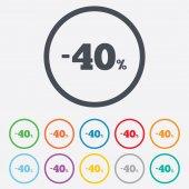 40 percent discount sign icon. Sale symbol. — Stock Vector