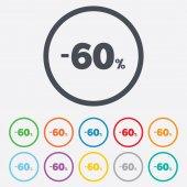 60 percent discount sign icon. Sale symbol. — Stock Vector
