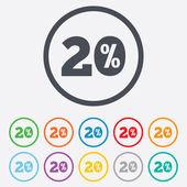 20 procent rabatt tecken ikon. försäljning symbol. — Stockvektor