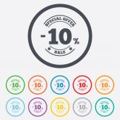 10 percent discount sign icon. Sale symbol. — Vecteur