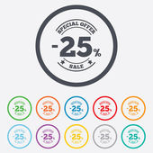 25 percent discount sign icon. Sale symbol. — Stok Vektör