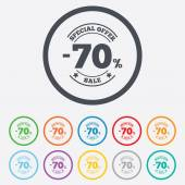 70 percent discount sign icon. Sale symbol. — Vettoriale Stock