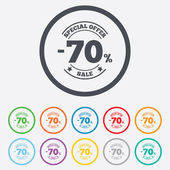70 percent discount sign icon. Sale symbol. — Wektor stockowy