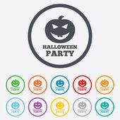 Halloween pumpkin sign icon. Halloween party. — Stock Vector