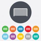 Football gate sign icon. Soccer Sport symbol. — Vettoriale Stock