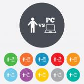 Player vs PC sign icon. Games symbol. — Vetor de Stock