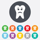 Tooth sad face sign icon. Aching tooth symbol. — Stock Vector
